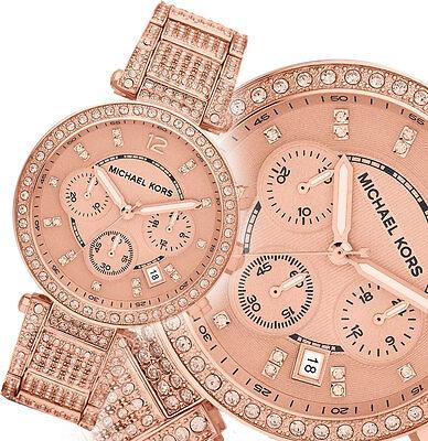 Michael Kors Parker Crystal Glitz Rose Gold Tone Ladies Watch With MK box MK5663