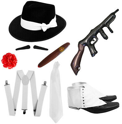 1920s Gangster Costumes (1920S GANGSTER FANCY DRESS MENS COSTUME SET AL CAPONE MAFIA GODFATHER OUTFIT)