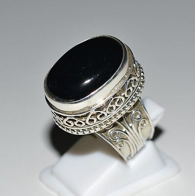 Genuine Black Onyx Silver Ring 925 Solid Sterling Silver Jewelry (US-BON-023)