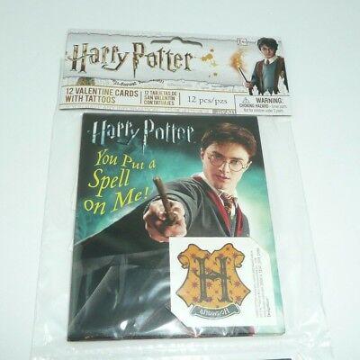 Harry Potter Valentine's Cards w/ Hogwarts Crest Tattoos Kids Children Classroom - Valentine Tattoo