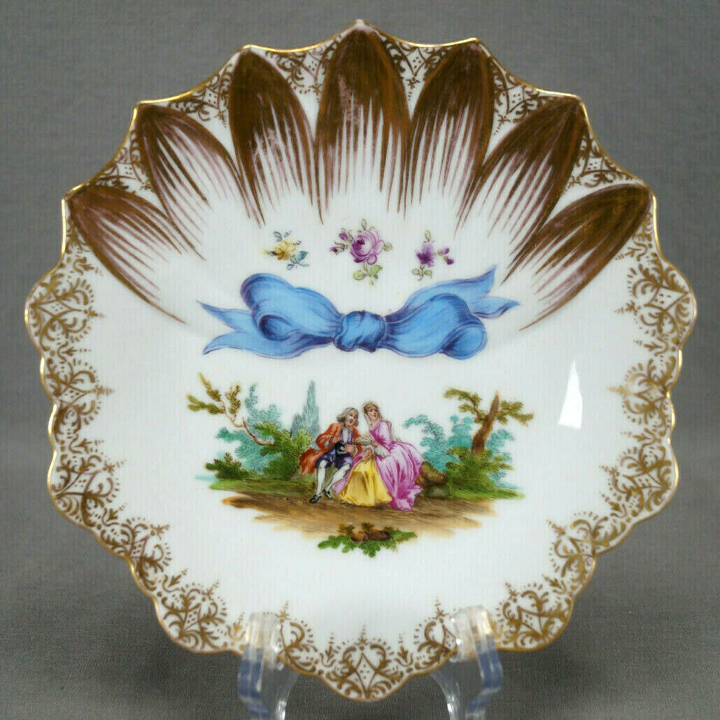 Wolfsohn Dresden Hand Painted Courting Couple Flowers Blue Ribbon & Gold Plate