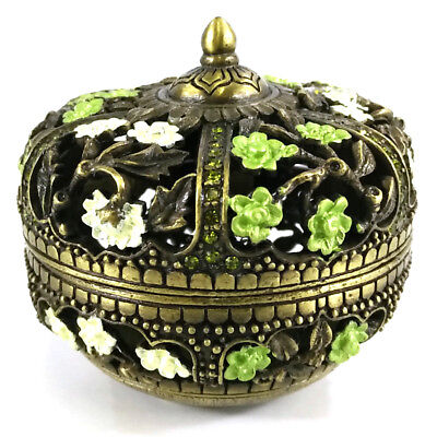 Pb-004 Green Eastern Inspired Decorative Enamel Jewelry Trinket Box Container