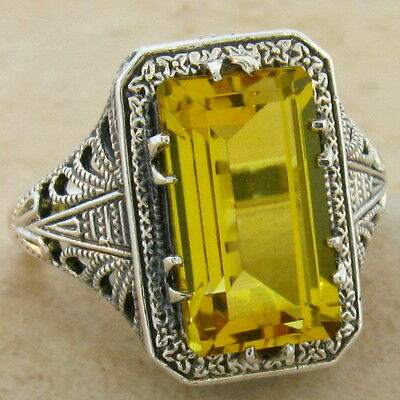 6 CT HYDRO CITRINE ANTIQUE DECO DESIGN .925 STERLING SILVER RING SIZE 10,   #547