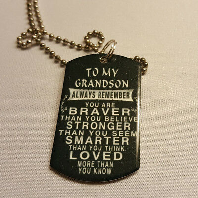 To my Grandson, remember you are loved dogtag steel necklace 30 inch chain