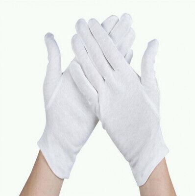 5 Pair White Work Jewellery Handling Costume Cotton Soft Thin Gloves New