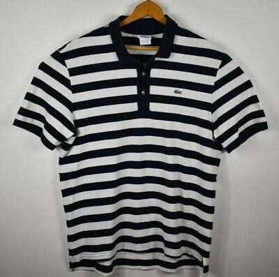 Lacoste Mens Size 6 Large Short Sleeve Polo Shirt Blue White Stripe