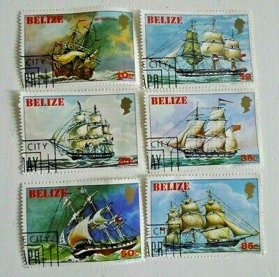 BELIZE SAILING SHIPS SCOTT 609-14 COMPLETE SET  USED CAT $ 42.00