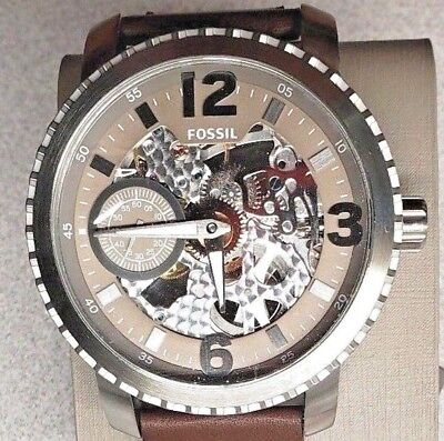 FOSSIL MEN'S NATE MECHANICAL STAINLESS & LEATHER WATCH, BQ2273, NEW IN TIN,