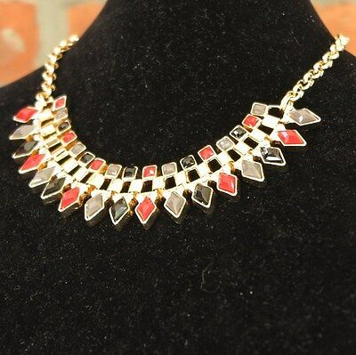 Gold Plated Red Black Grey Princess Choker Necklace & Earrings Jewelry 16
