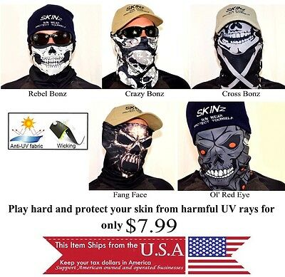 Scarf Face Mask Balaclava Head Wear Bones Skulls Protection Multi Use Mouth -