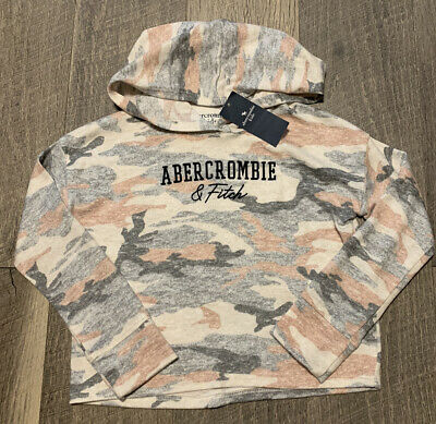 Abercrombie Kids Camo Hooded Logo Long Sleeve Tee/Gray leggings  Size 5/6 NWT