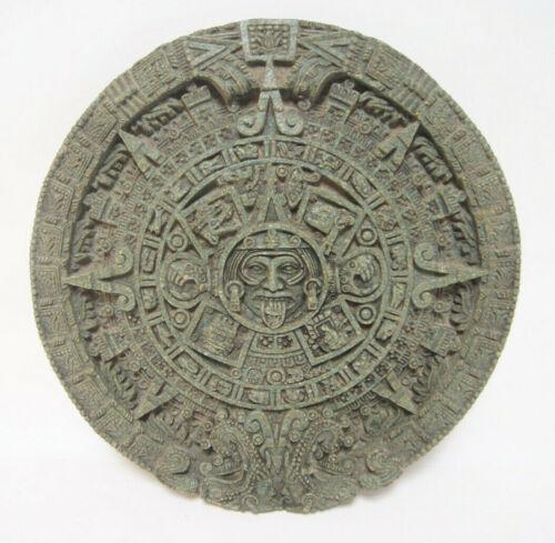 "Zarebski Stone Wall Hanging Mayan Green Sun Sculpture Malachite Round 13"""