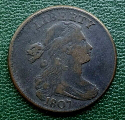 1807 DRAPED BUST LARGE CENT, VF  ~  ROTATED REVERSE  ~  NICE, INVESTMENT GRADE