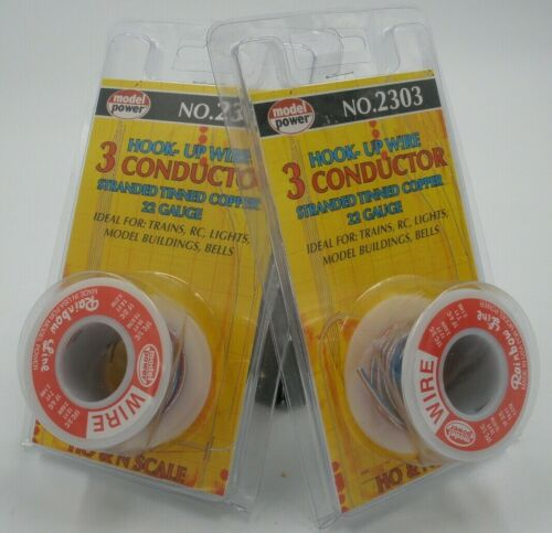 2 Pks.Model Power 2303 Hook-Up Wire 3 Conductor Stranded Tinned Copper 22 Gauge