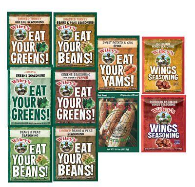 - Wiley's Greens Seasoning,Beans & Peas,Corn Boil,Yam Spice,WINGS!