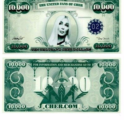 Rare  Cher  10 000 Dollar Bill From Farewell Concerts Hollywood Bowl