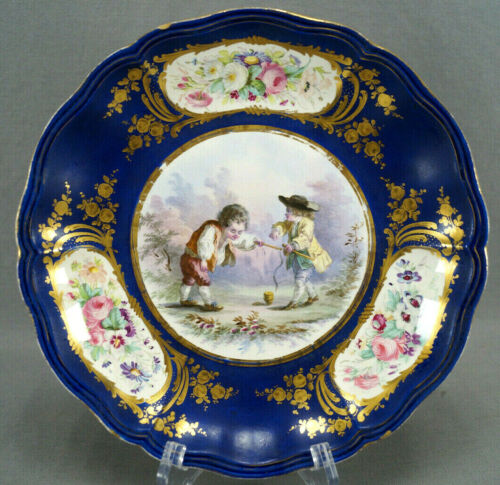 Antique Sevres Style Hand Painted Boys Spinning Top Floral Cobalt & Gold Tazza