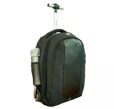 Backpack with wheels Rolling backpack Laptop backpack carry on 18 inches, black ()