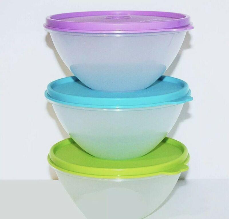 New TUPPERWARE Clear Wonderlier 2 cup Bowls SET OF 3 Green AQUA Purple Seals