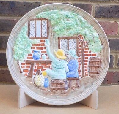 Vintage H.J. WOOD BURSLEM Pottery Hand Painted Large Charger Plate - Pub Scene