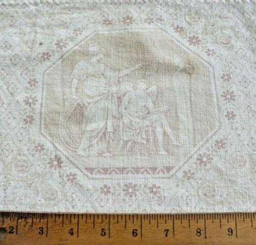 """French Antique c1880 Faded Cherub Pale Toile Cotton Fabric~L-87"""" X W-48"""""""