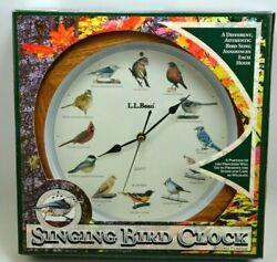 L.L. Bean 1997 Quartz SINGING BIRD Wall CLOCK Oak Finish Round 13.5