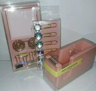 Pink Desk Supply Set  Tape Dispenser Stationary Set Paper Clips