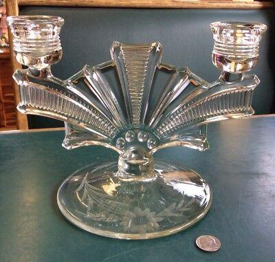 Vintage Candelabra 2 Candle Holder Paden City Glass co. Art Deco (Cavendish Glasses)