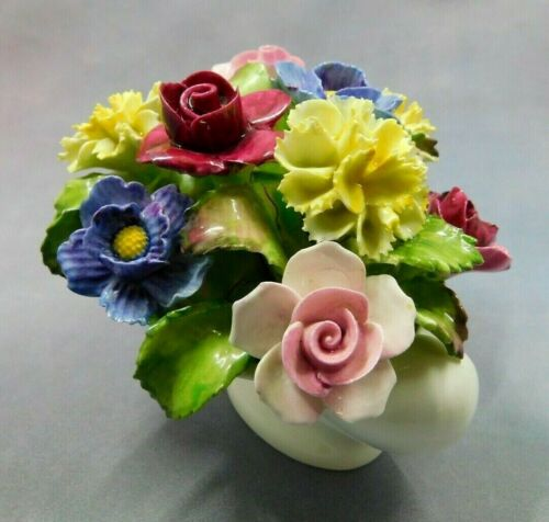 Capodimonte AYNSLEY ENGLAND~Hand Painted~Signed~Porcelain Flower Floral Bouquet