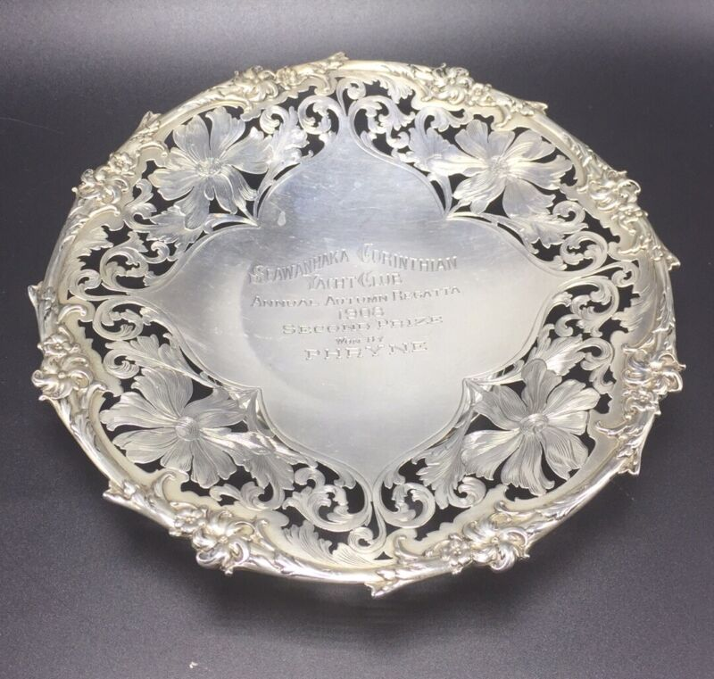 Black Starr & Frost Antique Sterling Silver Pierced Flower Yacht Club Prize Dish