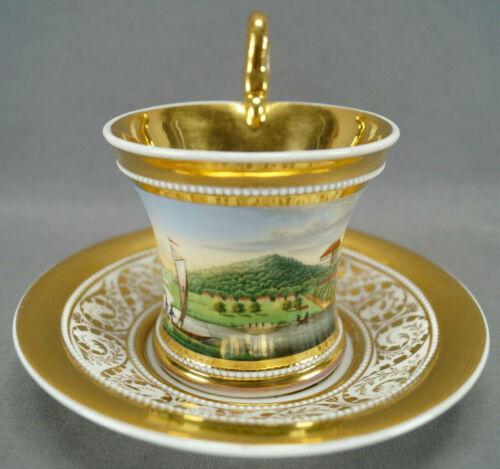 KPM Berlin Hand Painted Fuchshofen Scene & Gold Empire Form Cup C. 1820-1830s