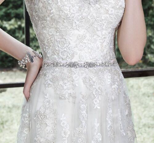 Crystal bridal belt on ivory sash