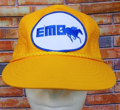 EMO EQUINE INSURANCE  QUARTER HORSE RACE SPONSOR STRAPBACK BASEBALL HAT YELLOW (Yellow Quarter Horse)