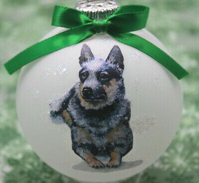 D042 Hand-made Christmas Ornament - Australian Cattle Dog Blue Heeler - laying Australian Cattle Dog Heeler