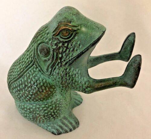 "Green Cast Metal 5X6"" Frog Figurine"
