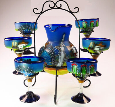 Mexican Margarita glass hand painted Poncho cactus pitcher set, 6 glasses w rack
