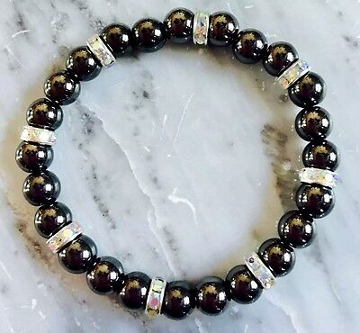 Black Magnetic Hematite Therapy bracelet With Large Rhinestone Spacers all sizes