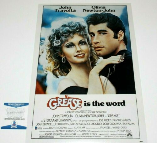JOHN TRAVOLTA SIGNED AUTHENTIC 'GREASE' 12x18 MOVIE POSTER BECKETT COA PROOF