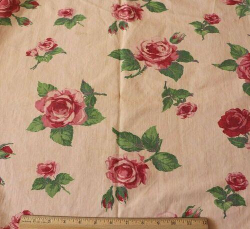 """Vintage American Pink/Red Rose Barkcloth Era Cotton Fabric Yardage c1940~72""""X26"""""""