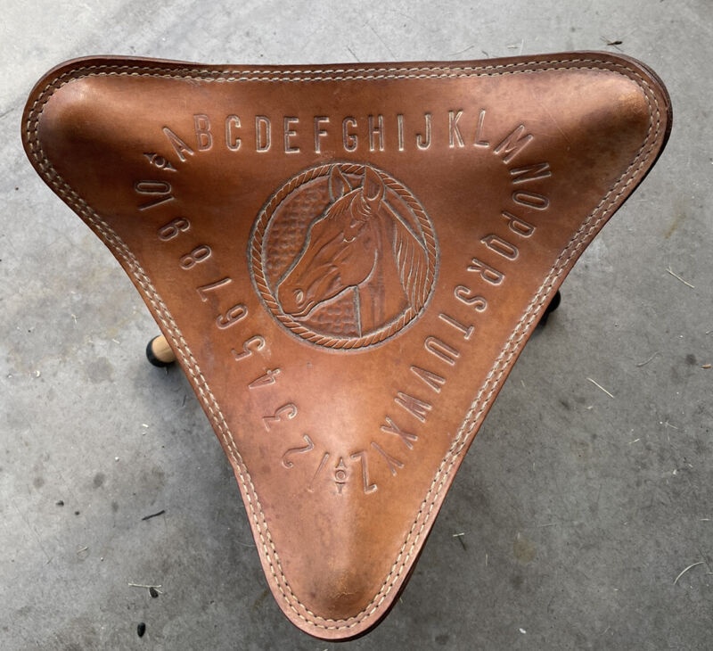 "Vintage Chambers Pheonix Hand Tooled Leather Tripod Stool Seat Horse 14""x12"""