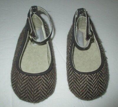 INFANT GIRLS BABY GAP BROWN CHEVRON TWEED WOOL ANKLE DRESS SHOES SIZE 3-6 MONTHS