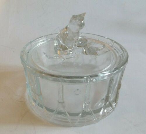 Vintage French Portieux Vallerysthal Powder Box with Kitten on Top