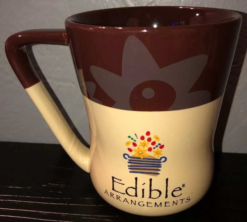 16 oz Edible Arrangements Brown cream daisy coffee tea Mug. Floral design