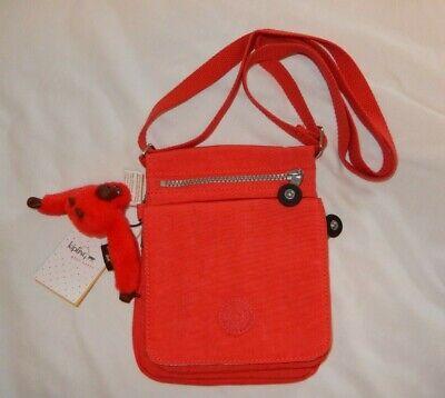 KIPLING El Dorado Cayenne RED AC8260 Crossbody Organizer Shoulder Bag Monkey NEW