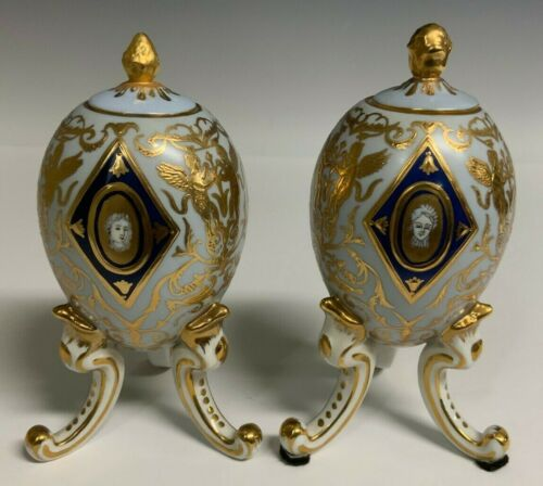 Sevres Porcelain Pair Of Footed Eggs