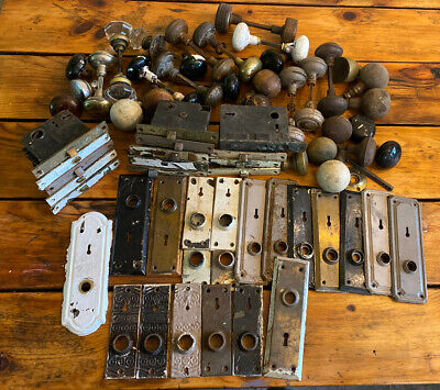 Large Lot Of Vintage Antique Architectural Metal Wood Door Knobs Locks And Parts