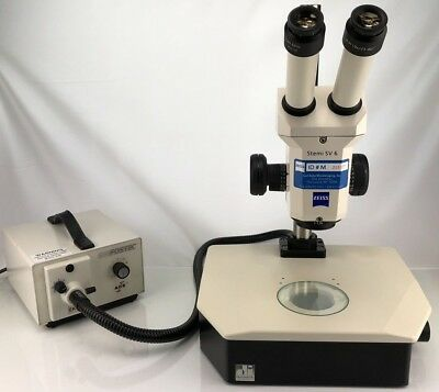 Zeiss Stemi Sv 6 Stereo Microscope W Diascopic Stand And Fostec Light Source