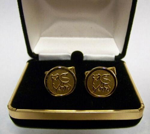Set of MERRILL LYNCH BULL Cufflinks Gold-tone