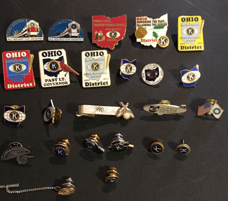 Lot Of 24 Vintage Kiwanis Ohio Pins Tie Pin Clip