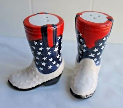 Americana western boot salt and pepper shakers patriotic red white and blue